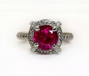 18K Solid White Gold 3.04 Ct Diamond & Round Red Ruby Women's Halo Ring