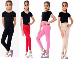 Girls Full Length Waffle Leggings Kids Children Gym Dance TikTok Size 3-13 years