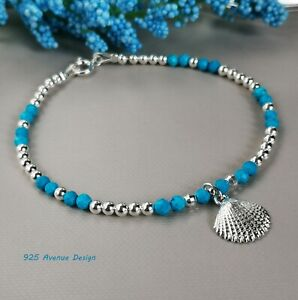 TURQUOISE Bracelet  blue faceted beads 925 Sterling Silver Summer Shell charm