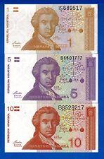 Croatia One & Five & Ten Dinara P-16 P-17 P-18 Uncirculated Banknotes SET-5