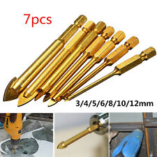 "7Pcs Ceramic Tile Glass Drill Bits with 1/4"" Hex Shank Set for Chucks Bit Holder"