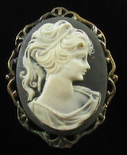 "Vtg Black Resin ""Lolita"" Cameo Gray Goldtone Frame C Clasp Brooch Pin Pendant"