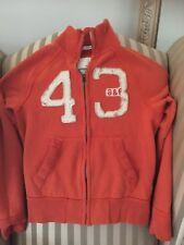 abercrombie kids boys sz L jacket muscle sweatshirt orange full zip