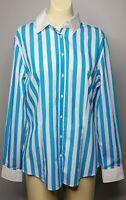 New RM WILLIAMS Womens Size 10 Button Front Shirt Long Sleeve Cotton Blue Stripe