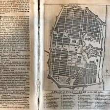 1759 newspaper LARGE STREET MAP PONDICHERRY INDIA British Colony SEVEN YEARS WAR
