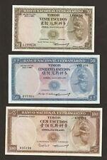1963 - 67 Portugal Timor 20/50/100 escudos conjunto de Uncirculated