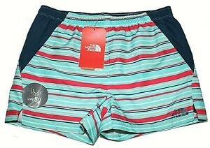 Girls Youth North Face Class V Teal Red Blue Tan Striped Shorts Sz  XL 18 NWT