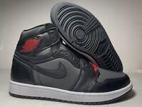 """Nike Air Jordan 1 Retro High OG """"Black Satin"""" Red Shoes 555088-060 Men Bred 7-13"""