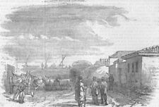UKRAINE. Crimean War. Yevpatoria-Rocket & Gun guns, antique print, 1855