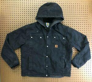 MENS LARGE- Carhartt J284 Sandstone Sherpa Quilt Multi-Pocket Snap Hooded Jacket