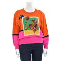 Vtg Escada Margaretha Ley Orange/Fuchsia Tiger Sequin Sweater Jumper sz 40/10 US