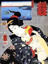 Retrato Mujer Gato Geisha Utagawa Kuniyoshi Japón Arte Impresión Cartel CC918