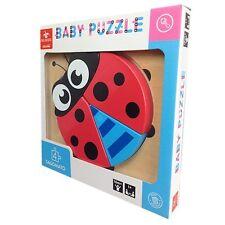Baby Puzzle Dal Negro Sagomato Cuccioli 4+, in Legno, Nuovo, Coccinella