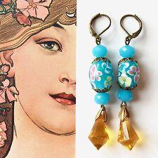 Vintage Sty. NEW Artisan EARRINGS Aqua Lampwork Encased Roses Bicone Glass #1323
