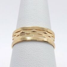 Vintage 14k Rose Gold Faceted Wide Wedding Band Ring sz8 Irish Lyre Hallmark