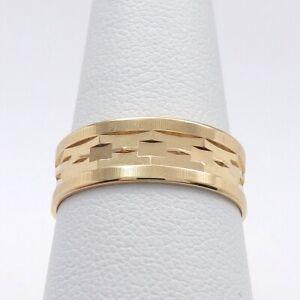 Vintage 14k Rose Gold Faceted Wide Wedding Band Ring sz8 Irish Lyre Hallmark