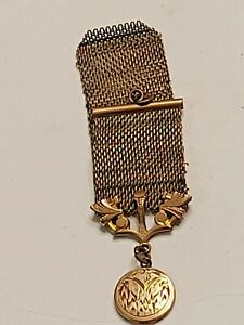 "Antique Victorian Gold Tone Mesh Watch Fob Chain 4"""