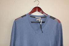 Burberry Brit 'Garth' Check Print Shoulder Detail Cashmere Cotton Sweater NEW L
