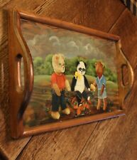 "Vintage Handpainted Wood Tray With Bears 20"" x 12"" Signed ""Lynn"" Sturdy & Well D"