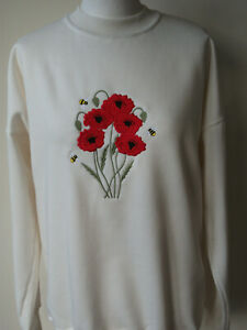 LADIES,WOMENS,LADYS,EMBROIDERED SWEATSHIRTS,TOPS,JUMPERS,WITH A POPPIES DESIGN