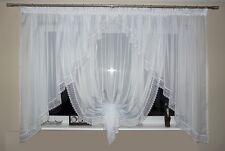 Rideau prêt à poser en voile Beau AG11 moderne blanc guipure fenêtre