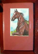 Framed Original HORSE/HORSES Watercolor ACEO/ATC
