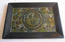 Plateau africain cuir et peinture décoration ethnique