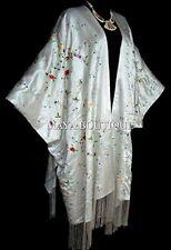White Embroidered Silk Kimono Caftan Duster Coat Plus Size Maya Matazaro