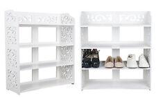 WPC 4 Tier Shoe Rack Home Storage Organiser Durable Waterproof Shelf Unit White