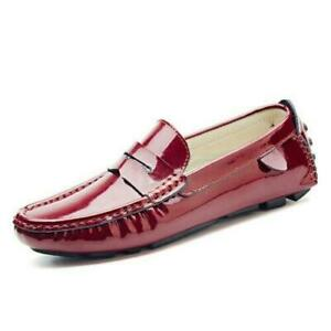 Men Patent Leather Slip On Loafers Round Toe Casual Driving Moccasins Shoes new