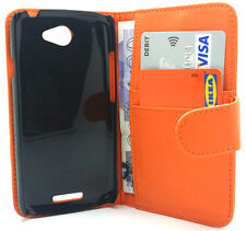 Extra Fine Orange Leather Flip Wallet Case Cover Fits For HTC ONE S HTC Z560E