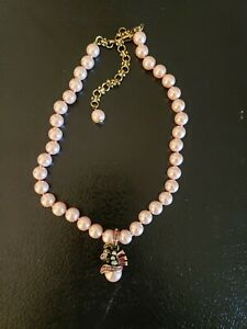 Heidi Daus Pink Faux Pearl & Charm Necklace EUC Jewelry