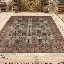 Yilong 8'x10' Garden Scene Hand Knotted Silk Carpets Indoor Area Rugs Y75B