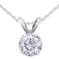 Antique 1/4 Ctw Diamond Jewelry 14K White Gold Solitaire Pendant Necklace