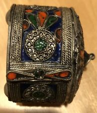 Inlaid Box Bracelet Bangle Vintage Handcrafted Moroccan African Berber