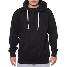 Cotton blend hoodie with Full-length zip and kangaroo pocket Black - M