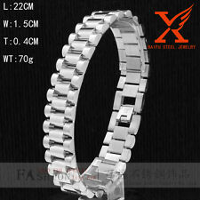 Classic Rhodium 15mm Stainless Steel Silver Best Hip Hop Wrist Bracelet & Bangle
