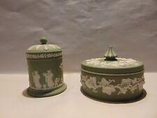 Wedgwood Jasper Ware Green - 2 Lidded Trinket Boxes - Vintage - Made In England