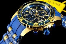 New Invicta Mens Pro Diver Ocean Blue/Gold Chronograph Blue Silicone Strap Watch