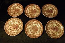 Lot 6 Vintage Pink Grindley Staffordshire English Country Inns Saucers England