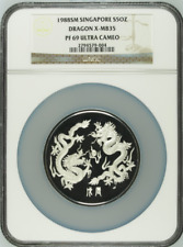 1988 SM Singapore Silver 5oz Year of the Dragon Medal NGC PF69UC