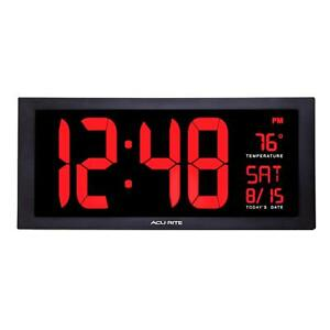 AcuRite - 75100 - Large LED Digital Wall Clock with Indoor Temperature
