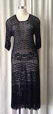 Navy Blue Crocheted Dress w Fringes S/M