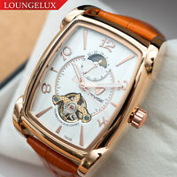Mens Rose Gold White Face Moon Phase Automatic Mechanical Watch Orange Leather