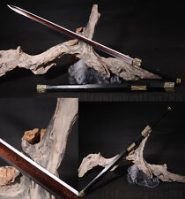 "42"" DAMASCUS FOLEDE STEEL RED  BLADE CHINESE HAN 汉剑 SWORD VERY SHARP"