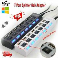 7-Port USB 3.0 Hub Charger Switch Splitter Powered PC Laptop Desktop AC Adapter