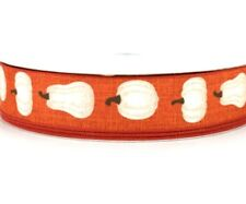 Fall Ribbon Wired Edge Ribbon Rust color with White Pumpkins 1.5 W - 5 Yards