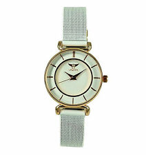 NY London Women's Girl's All Metal Mesh Strap Watch Analog Quartz Hook Buckle