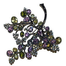 EXQUISITE STERLING, AMETHYST & CITRINE LARGE LEAF BROOCH BY JARIN