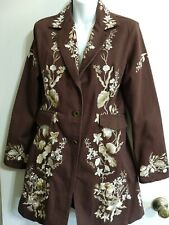 Paparazzi Embroidered Floral Coat Jacket Brown Long Sleeve Button-Down Womens S